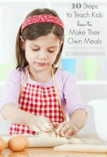 Bringing kids into the kitchen provides opportunities for them to learn life skills and character traits that will serve them for many years to come. Here are 10 steps to teach kids to make their own meals.