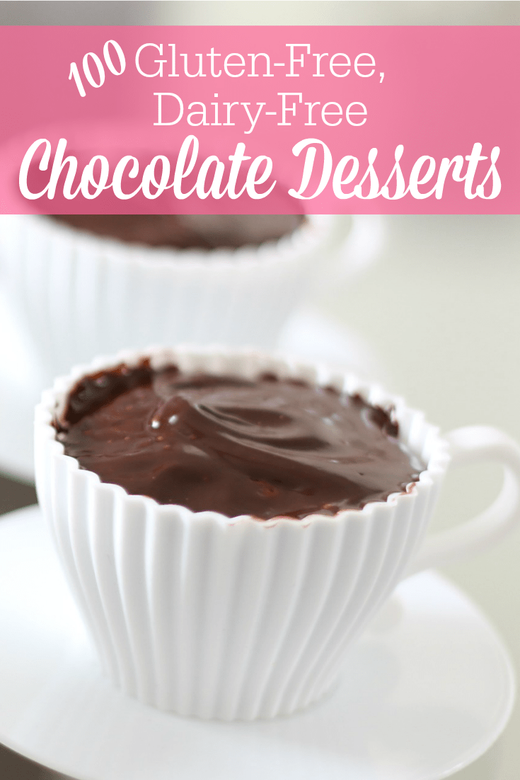 More than 100 gluten-free, dairy-free chocolate dessert recipes all in one place! There are gluten-free, dairy-free chocolate cakes, cookies, pastries, bars, frozen desserts and more!