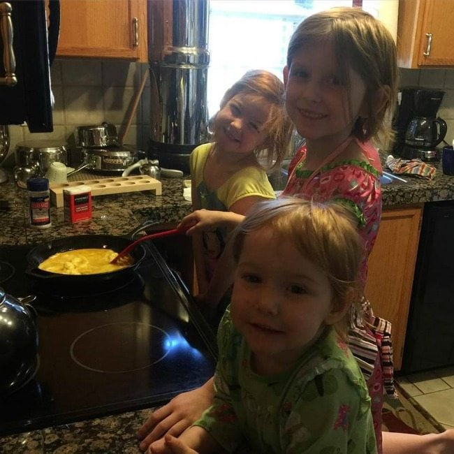 My girls were so proud of themselves for making scrambled eggs!#breakfast #motherhood