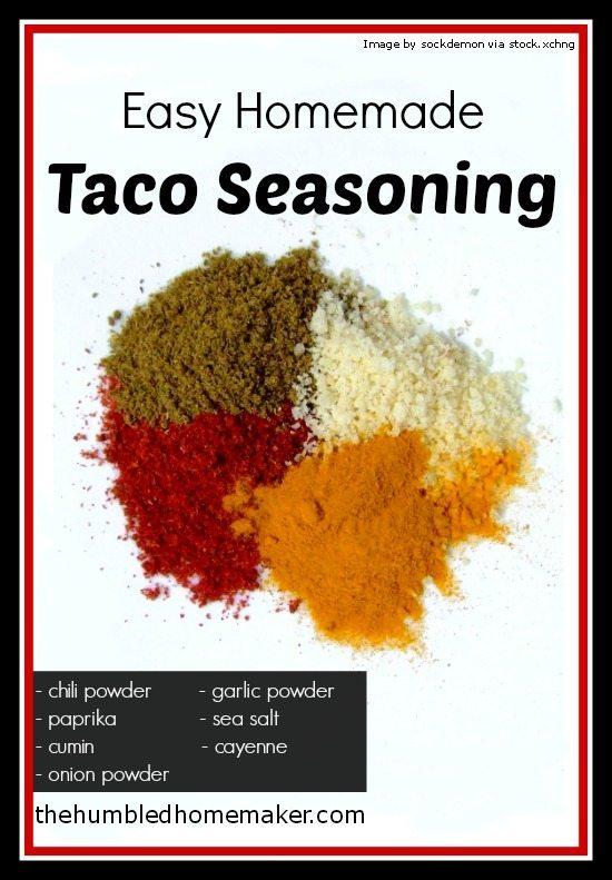 Homemade Homemaking . This month's homemade recipe is taco seasoning ...