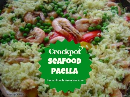 Crockpot Seafood Paella- SO Easy and Delicious! | thehumbledhomemaker.com
