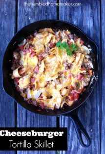 This Cheeseburger Tortilla Skillet is a tasty real food version of Hamburger Helper--pure comfort food, made healthy!