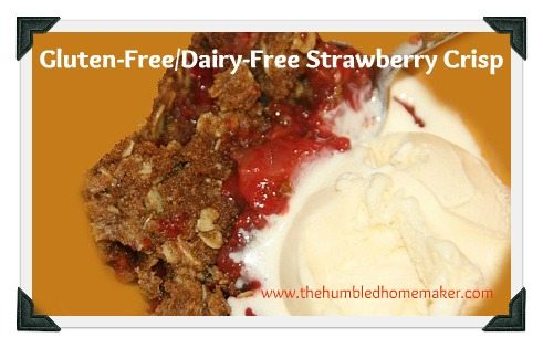gluten free dairy free strawberry crisp recipe with no refined sugar