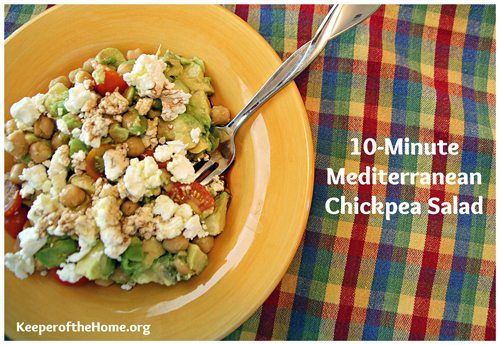 This chickpea salad makes a great power lunch that will fuel you up midday! It's super healthy and only takes 10 minutes to throw together. Great for school lunches or to pack for a work lunch, too!