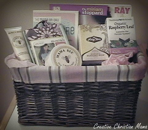 This is such a sweet gift idea for a new mama! Fill a pretty basket with items to pamper the baby--and especially, the mama!!