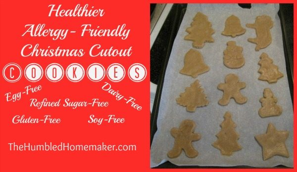 These healthier Christmas cutout cookies are allergen free! My family loves to eat these in place of regular sugar cookies!