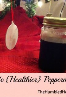 Here's a recipe for homemade peppermint syrup that's refined sugar free! It's made on the stovetop and sweetened with sucanat. Great for adding to coffee!