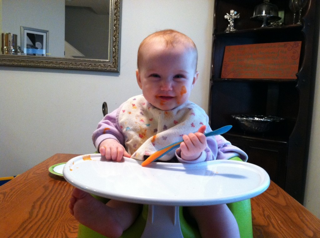 Baby Girl is eating solids at 8 months old 2013