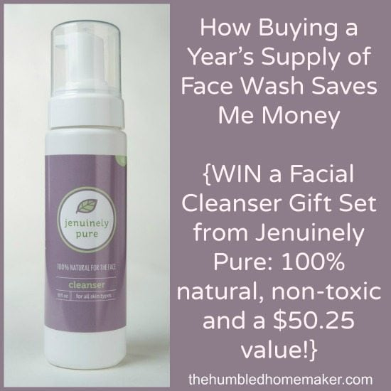 How Buying a Year's Supply of Face Wash Saves Me Money and WIN a Facial Cleanser Gift Set from Jenuinely Pure_100 percent natural and non-toxic at thehumbledhomemaker.com