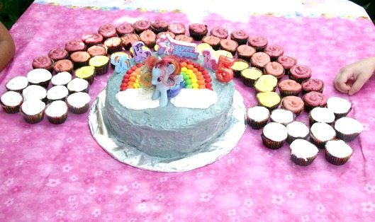 My Little Poney Birthday Cake and a Rainbow of Mini Cupcakes for a My Little Pony Birthday Party