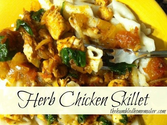 Herb Chicken Skillet is one of the meals that features in this gluten-free Aldi menu plan.