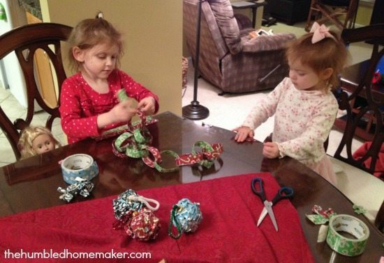 Making Christmas Crafts with Duck Tape