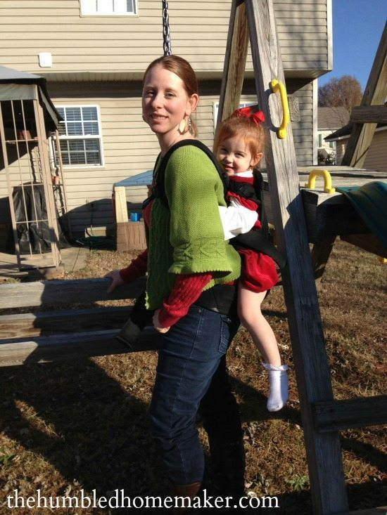 My 3-year-old LOVES riding on my back via the Baby Bjorn Carrier!