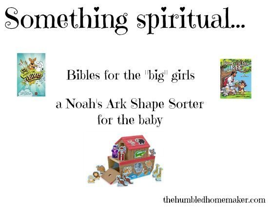 Something spiritual for Christmas gifts- Bibles and a Noah's Ark shape sorter