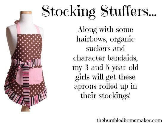 Stocking Stuffers at The Humbled Homemaker- hairbows, organic suckers, bandaids and aprons!