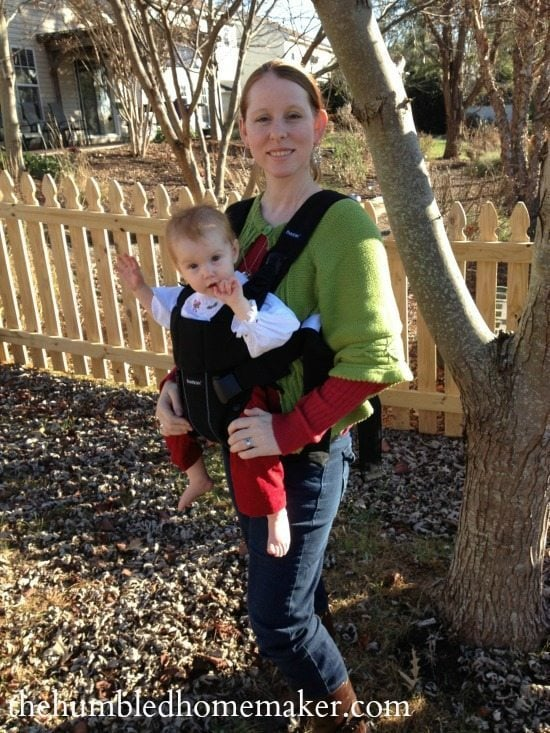 Waving at the world from the Baby Bjorn Carrier