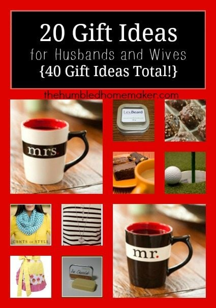 GREAT list of gifts for husbands and wives to get for each other!  Lots of ideas here for Christmas, Valentine's Day, or birthdays!