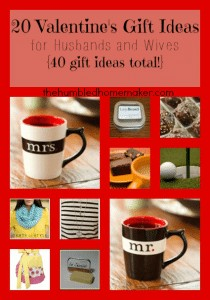 20 Valentine's Day Gift Ideas for Husbands and Wives {40 gifts ideas total!} thehumbledhomemaker.com