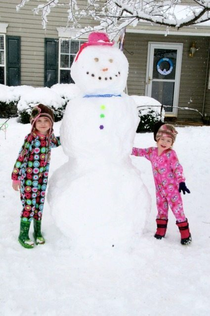 Girls with Snowman