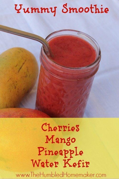 Yummy Cherry Mango Smoothie - TheHumbledHomemaker.com