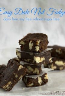 Here's a recipe for healthy date nut fudge that's dairy, soy, and refined sugar free. The dates and sucanat lend natural sweetness; the nuts add texture.