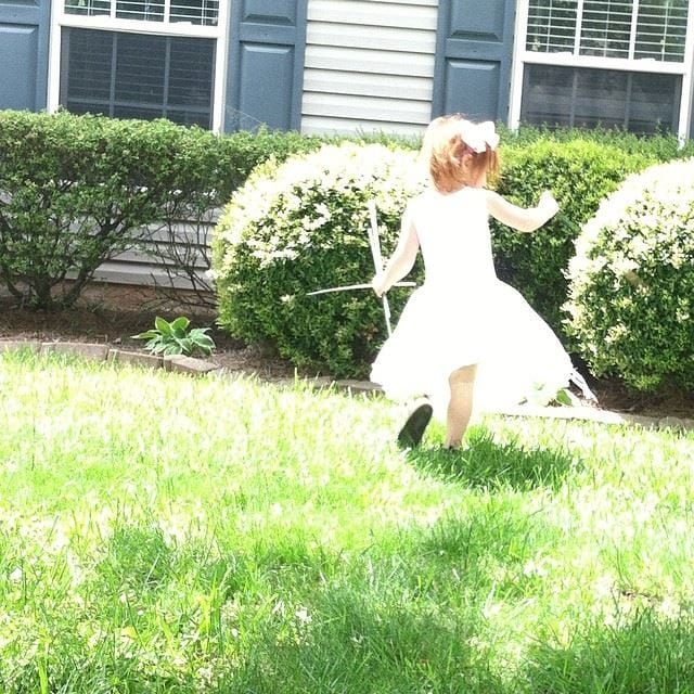 The girls and I have been enjoying the beautiful spring days here in North Carolina. Here is my 3-year-old, twirling like a ballerina on our front lawn.