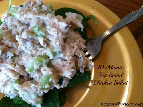 This super easy chicken salad tastes like something you'd order at a tea room. But you can whip it up in your own kitchen in less than 10 minutes!