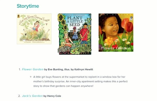 Books Suggested for Gardening Kit