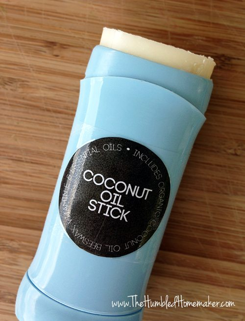 This DIY lavender and tea tree coconut oil stick provides all-natural relief for dry skin, bug bites, and minor burns and rashes.
