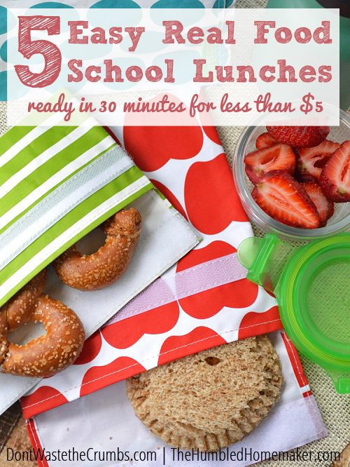 Make 5 real food school lunches for less than $5 with this plan! With these frugal real food school lunches, you can pack meals that are nourishing AND fun!