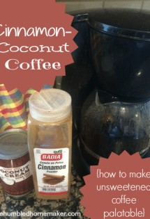 Having trouble drinking unsweetened coffee? Check out this easy-peasy recipe for cinnamon-coconut coffee, and your unsweetened coffee will be palatable.