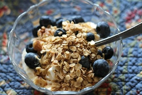 Protein packed granola is a super-fast and healthy breakfast for school mornings.