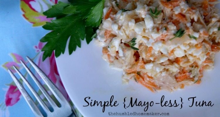 Simple Mayo-Less Tuna - TheHumbledHomemaker.com