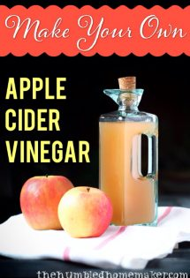 Homemade raw apple cider vinegar is easy to make! This fall DIY uses whole or leftover apples. Adapt this recipe to make other fruit vinegar as well!