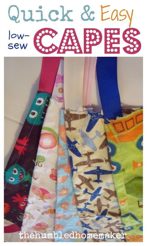 """I call these kids' capes """"low-sew"""" because they are seriously simple, with just ONE seam and you are done! I made about 30 of them the morning of my children's birthday party a couple years ago. They were our """"favors"""" for a Superhero-themed birthday party."""