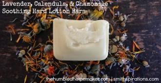 Lavender, Calendula, & Chamomile Hard Lotion Bars - TheHumbledHomemaker.com