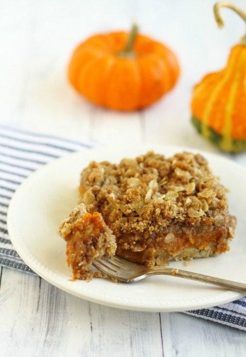 Real Food Pumpkin Pie Crumble Bars - TheHumbledHomemaker.com