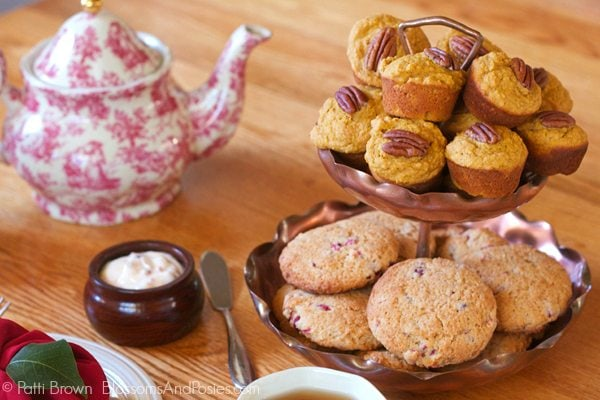 Pumpkin Muffins and Cranberry Scones are two of our favorite snacks for a fall tea party menu.