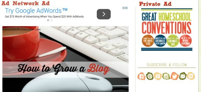 Make money blogging with ad network ads and private ad sales