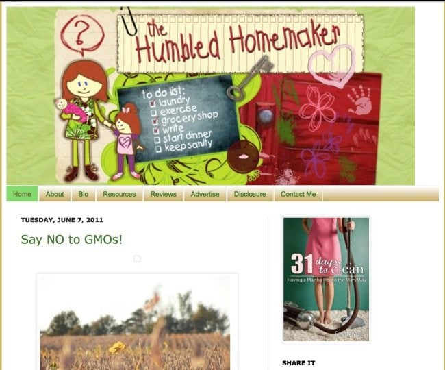 The Humbled Homemaker's first blog design