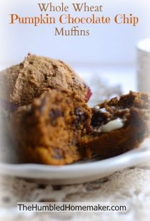 These pumpkin chocolate chip muffins look amazing!! They're made with whole wheat and sucanat so they're nice and healthy, too! Freeze a big batch to have some handy for a quick breakfast.