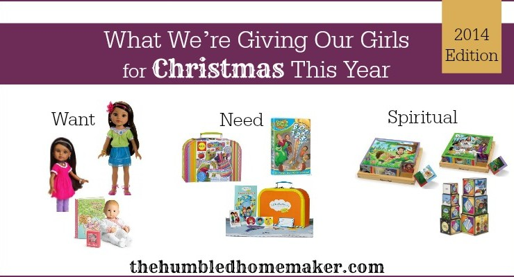 These are the gifts we are giving our 3 girls for Christmas this year. This year, they are 2, 4 and 6 years old! Every year, we give our children three gifts each--a want, a need and a gift to nurture their spiritual growth.