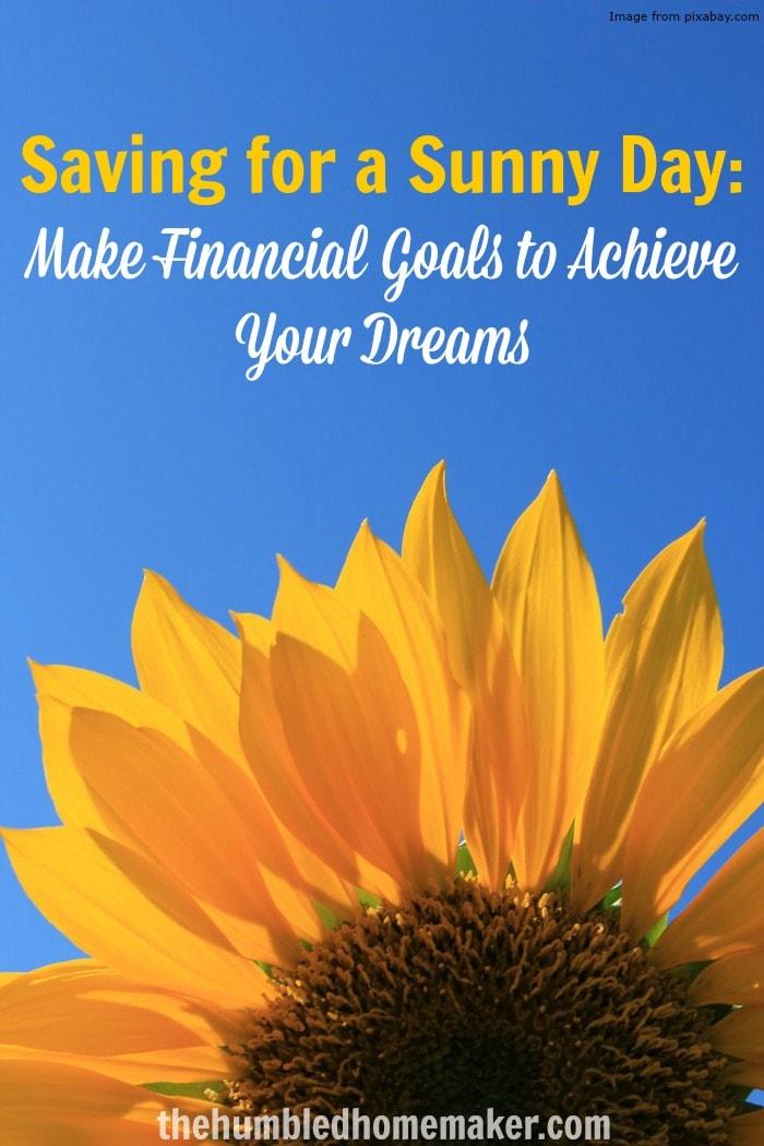 """Want to learn how to save for a """"sunny day""""? Make financial goals to achieve your dreams!"""