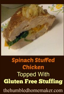 This spinach-stuffed chicken was a hit! Each chicken breast is filled with a flavorful gluten-free stuffing and plenty of fresh spinach!