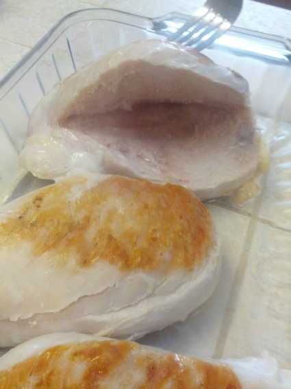 cut a slit in the chicken breast
