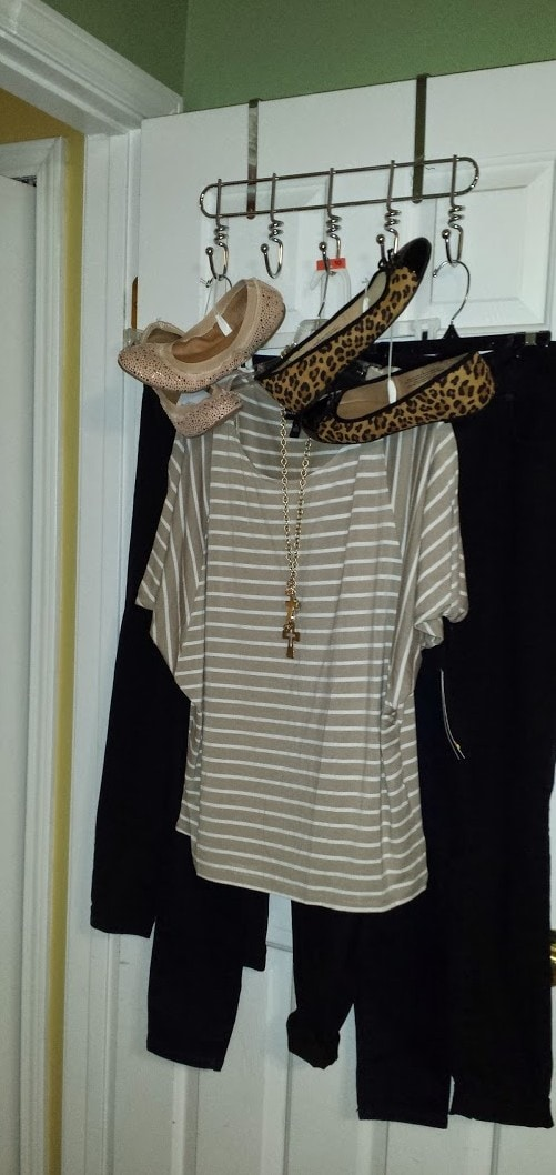 My mom bought me the oversized striped shirt from Kohls. (I LOVE it!) Candace matched it with skinny jeans and flats from Target. My MIL gave me the necklace one Christmas.