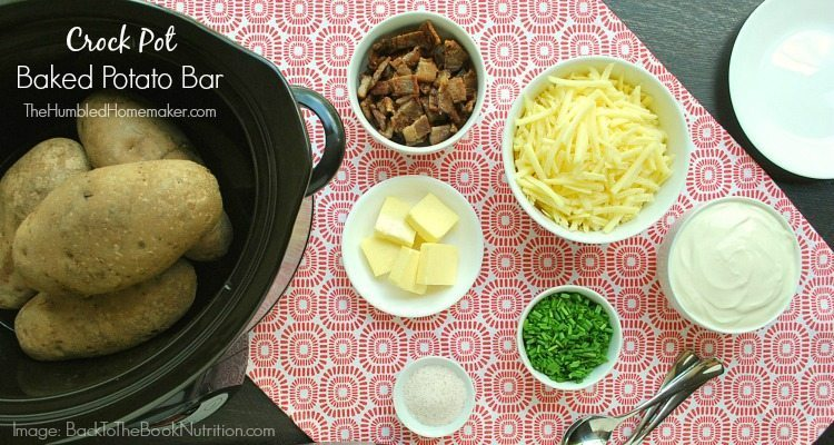 Make this crock pot baked potato bar as one of the meals in this 2-week frugal Aldi meal plan.