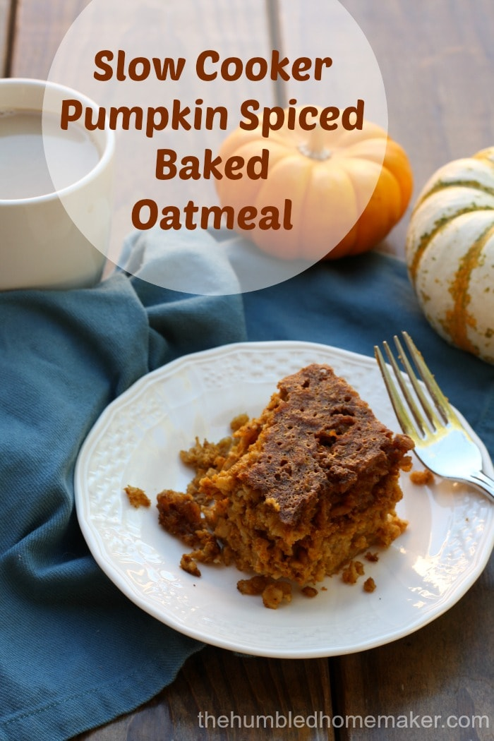 Looking for a delicious and healthy, fall-inspired breakfast? Your family will love this slow cooker pumpkin-spiced baked oatmeal.