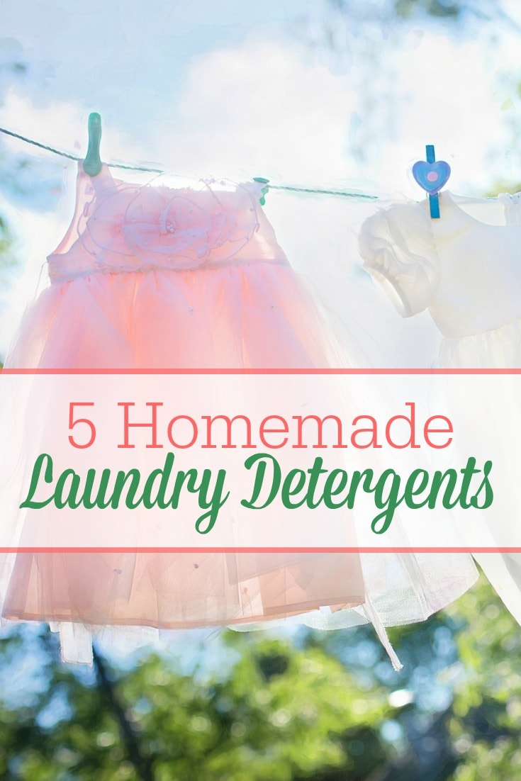Here are 5 unique homemade laundry detergent recipes -- including both liquid and powder recipes and cloth-diaper safe! Now you can detox your laundry routine AND save money!