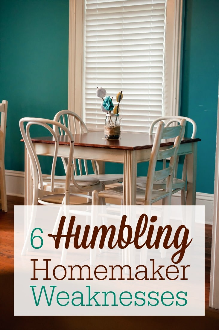 As a homemaker, I struggle with these 6 things almost every day. I think many moms can relate! Do you have any of these humbling homemaker weaknesses?
